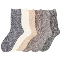 Women's 3 to 6 Pack Wool Fashion Warm Thick Thermal Cushion Crew Quarter Winter Socks