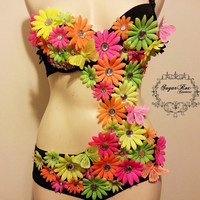 Neon Daisy outfit- neon pink, green,orange  rave bra, custom event outfit- daisies,rhinestones