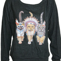 "Three Native Kitty Cats Pullover Slouchy ""Sweatshirt""  Top American Apparel Black S, M, or L"