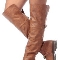 Chesnut Faux Leather Metal Chain Over The Knee Boots