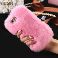 KISSCASE Rabbit Hair Phone Case For iPhone 6 6s 7 8 Plus Rhinestone Fur Fluffy Cases For iPhone X 5s 5 SE Accessories Capinhas