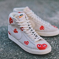 Comme Des Gar?ons x Nike Sb Blazer canvas high-top sneakers shoes