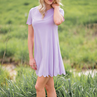 Spring Fling Scalloped Lavender Shift Dress