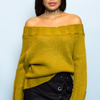 Olive Knit Off The Shoulder Sweater Top