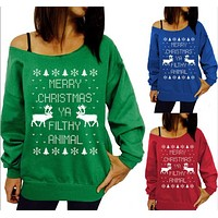 Autumn and winter with the explosion of the Christmas tree set of cashmere sweater sweater printing head