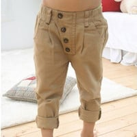 Retro Toddler Kid Boy Khaki Casual Pants Straight Trousers 2-7Y Baby Clothes S19 NW