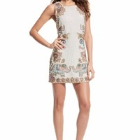 Surova Sequin Encrusted Elephant Motif Linen Dress | Calypso St. Barth