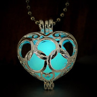 Heart-shaped hollow-out luminous ball bead necklace