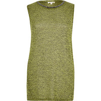 River Island Womens Lime marl sleeveless embellished neck top