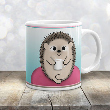 Relaxing Coffee Hedgehog Mug - My Time to Relax - Fuchsia Pink Teal Brown with Hot Coffee Cup - Hedgehog Cartoon Illustration - 11oz or 15oz