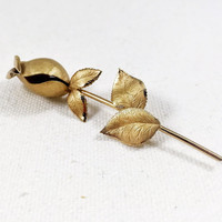 Gold rose pin, 1970s vintage Valenza rose brooch, long stemmed rose, rose coat pin, rose scarf pin, Christmas rose