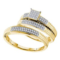 10kt Yellow Gold His & Hers Round Diamond Cluster Matching Bridal Wedding Ring Band Set 1/4 Cttw - FREE Shipping (US/CAN)