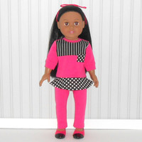 18 inch Doll Clothes Hot Pink and Black Tunic Top and Leggings with Stripes and Polka Dots