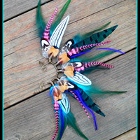 Feather, Ear, cuff, turquoise, earcuff, Natural, earring, Statement, Jewelery, Native, american, style, Indian, headdress, edm, festival
