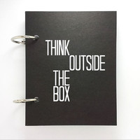 Custom journal, notebook, sketchbook, diary, jotter, ring binder, blank notepad, typography, customized, black, think outside the box