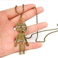 World Pride New Fashion Charming Jewelry Ancient Style Cute Robot Notes Pendants Necklaces (Bronze Tone Plated)