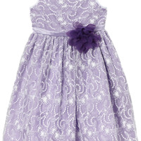 Lavender Satin with White Floral Lace Overlay Occasion Dress (Girls Sizes 2T - 12)