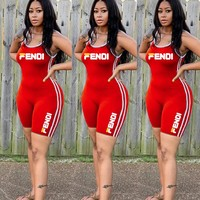 FENDI Summer Newest Women Sexy Print Sleeveless Red Jumpsuits