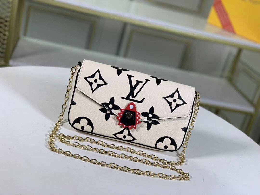 Image of LV Louis Vuitton LEATHER CRAFTY POCHETTE FELICIE INCLINED SHOULDER BAG