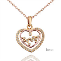 18K Rose Gold Hollowed Out Heart Shaped Pendant Necklace Fashion Jewelry For Women