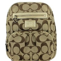 Authentic Coach Daisy Signature School Travel Laptop Baby Diaper Backpack Bag 22948 Khaki Gold