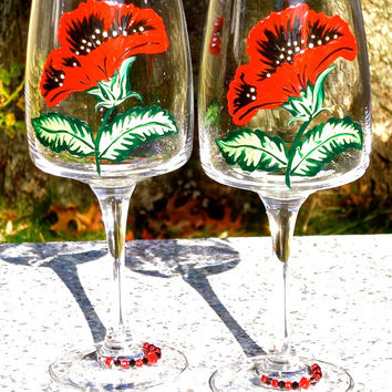 Painted Wine Glasses With Red Flowers And Crystal Wine Charms