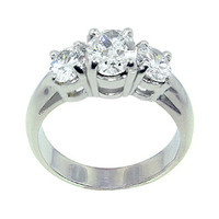 3 Cts. diamonds engagement ring 3 stone white gold ring