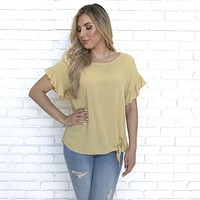 Anything But Ordinary Mustard Ruffle Top