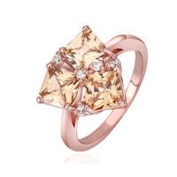 Crystal Golden Shadow Prong 18K Rose Gold Plated Ring