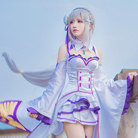 Re:Life In A Different World From Zero Emilia Cos Wig Silver White Hair Straight Long 100cm Anime Cosplay Wigs Pluto P406A