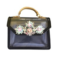 NEW Paris fashion black color diamond crystal PVC transparent personality ladies handbag DIY Collocation shoulder bag purse