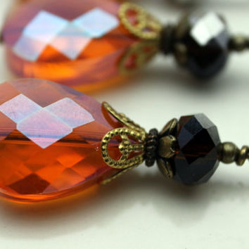 Faceted Dark Orange AB Faceted Flat Teardrop and Brown Mirror Crystal Pendant Bead Dangle Charm Drop Set