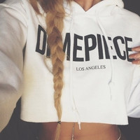 White Letter Print Hooded Crop Tank Sweater