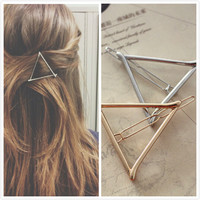 Fashion Hair Jewelry Trendy Chic Triangle Hair Pins Gold Silver Plated Women Elegance Hair Clips