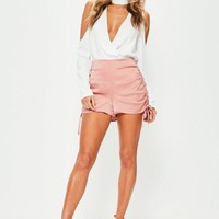 Missguided - Pink Ruched Side Satin Shorts