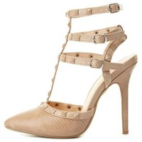 Studded Strappy Pointed Toe Pumps by Charlotte Russe - Natural