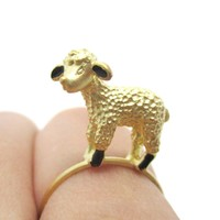 Adorable 3D Baby Lamb Sheep Shaped Animal Ring in Gold