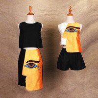 Summer SALE: Cubism crop top with eyes print, printed tee, white and yellow silk top, black silk maxi skirt, silk organza skirt