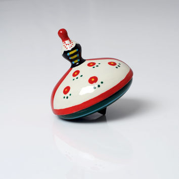 Wooden spinning top - folk dancer. silesian, limited edition, handmade, hand painted toy for children in beautiful premium box. Perfect gift