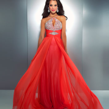 Mac Duggal 2013 Prom Dresses - Hot Coral Chiffon Halter Gown with Embellishments
