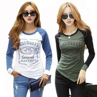 Fashion T shirt Women Cotton Long Sleeve Tshirt  Patchwork Raglan Sleeve T-shirts for Women Female T-shirt Winter Tops