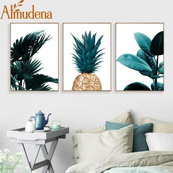 ALMUDENA Nordic Pineapple Painting Wall Art Cuadros Home Decoration Poster And Prints Plant Art Picture on Canvas No Photo Frame