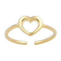 Hollow Heart Mid Finger / Mid Knuckle Ring Yellow Gold Plated Silver