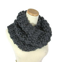 Outlander Inspired Cowl, Chunky Cowl,  Granite, Hand Knit Cowl, Circle Scarf, Charcoal, Gray, Women, Winter Scarf