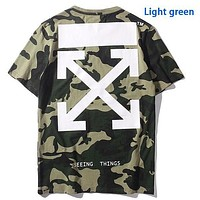 OFF-WHITE arrow green camouflage cotton crew neck T-shirt Top