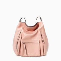 LEATHER FRONT POCKET BUCKET BAG