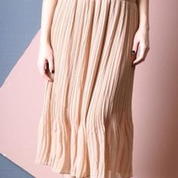 Earthly Stroll Accordion Pleat Midi Skirt in Almond   Sincerely Sweet Boutique