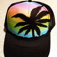 Handpainted palm tree silhouette sunset trucker hat
