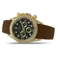 Rolex Fashion Diamond Dial, Trendy Men's and Women's Casual Business Leather Strap Watch