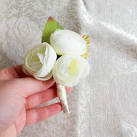 Off white pale green peonies flower wedding BOUTONNIERE custom corsage creme green satin ribbon peony